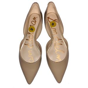 NEW Sam Edelman Dorsay nude leather pointed flat 8
